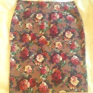 Traffic People Floral Roses Pencil Skirt